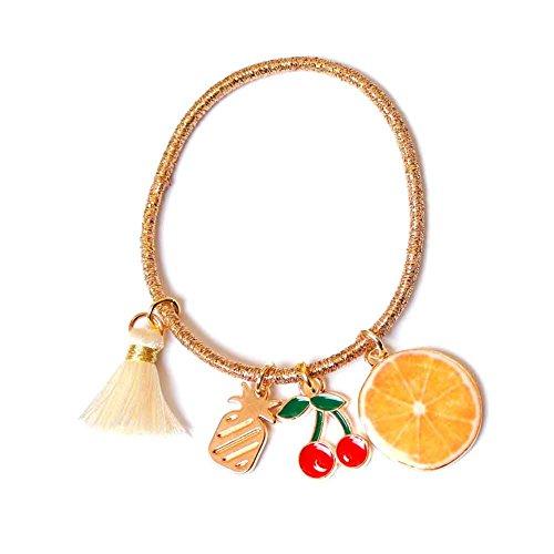ヘアゴム フルーツ 果物 オレンジ リアル プリント ヘアゴム 可愛い タッセル