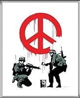 ポスター バンクシー Peace Soldiers 額装品 アルミ製ハイグレードフレーム(シルバー)