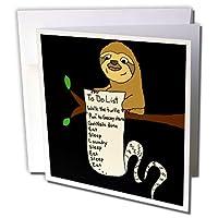オールスマイルズアートファニー–Funny Cute Sloth with Long to doリスト–グリーティングカード Individual Greeting Card