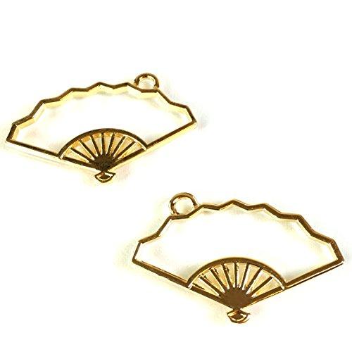 扇子 せんす和風空枠 4個 カン付きレジンフレーム ゴールド空枠チャーム アクセサリーパーツ ハンドメイド 手芸材料