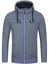 chenshiba-JP メンズヒップスターヒップホップ基本ジップアップパーカースウェットシャツジャケット