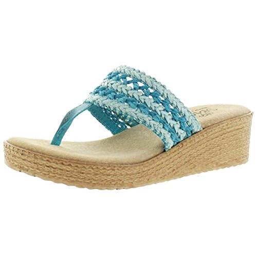 Sbicca Harbor Women's Raffia Wedge Thong Sandals Handmade USA9 B(M) USBlue [並行輸入品]