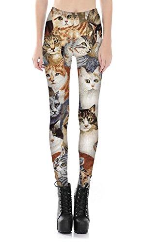 サラローズ(Sarah Rose) 猫 柄 可愛い レギンス スパッツ ロング スキニー パンツ ストレッチ 柔らか フィット キャット ネコ 好き アニマル インパクト ボトムス 成猫 (L, A)