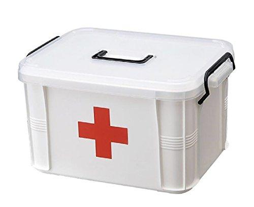 MODE des MONDE 救急箱 薬箱 大容量 収納 ケース 赤十字 救急 小物 入れ ボックス 道具箱 (M)
