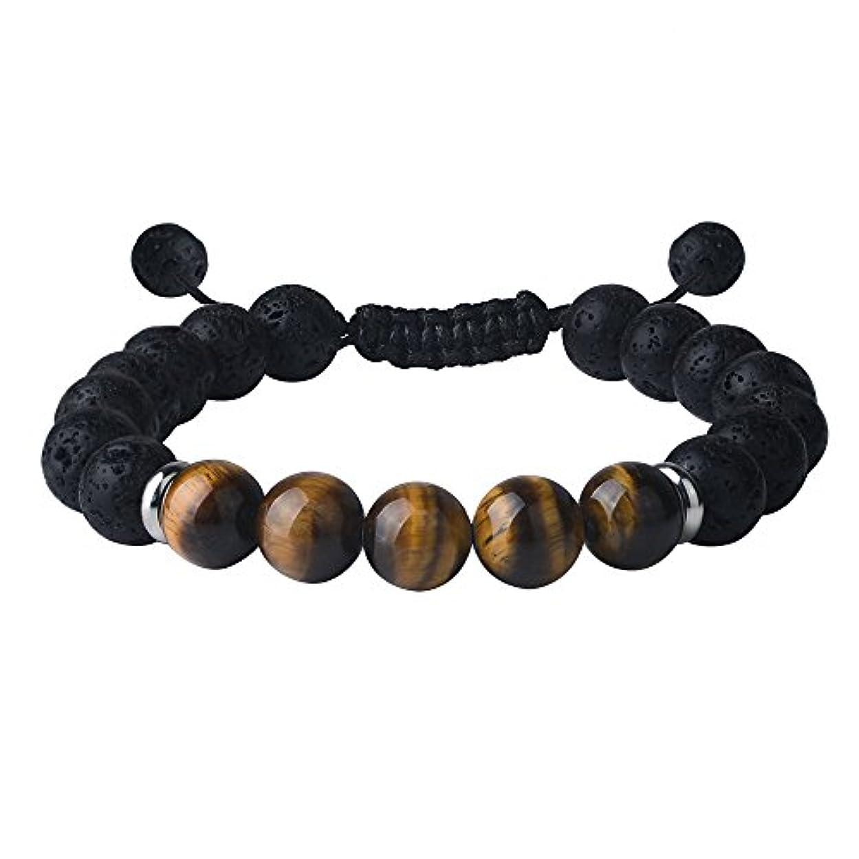 輝く巻き取り未就学Tiger Eyeブレスレットメンズレディース's-lava Rock andブラックオニキス宝石ビーズ調節可能なジュエリー、10 mm、8