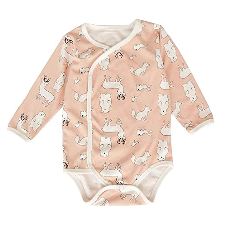 LYWENQINHG ベビー ロンパース 長袖 新生児 女の子 男の子 前開き アニマル 出産祝い インナー 肌着 部屋着 可愛い