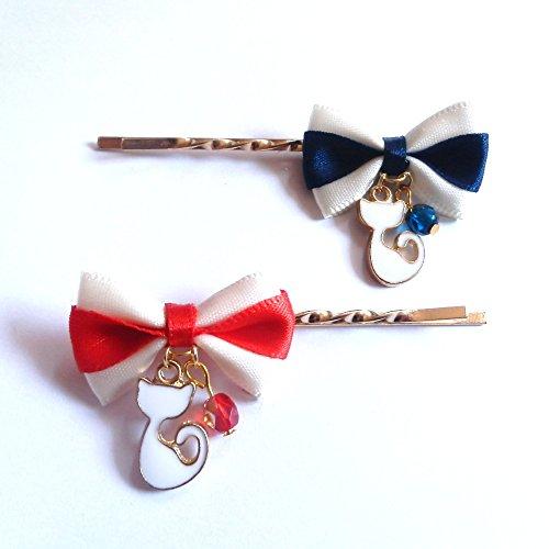 [해외]Cat `s Love Potion 고양이 머리핀 흰색 고양이 국경 틱 리본과 체코의 머리핀/Cat`s Love Potion Cat hairpin White cat`s bordering ribbon and Czech hairpin
