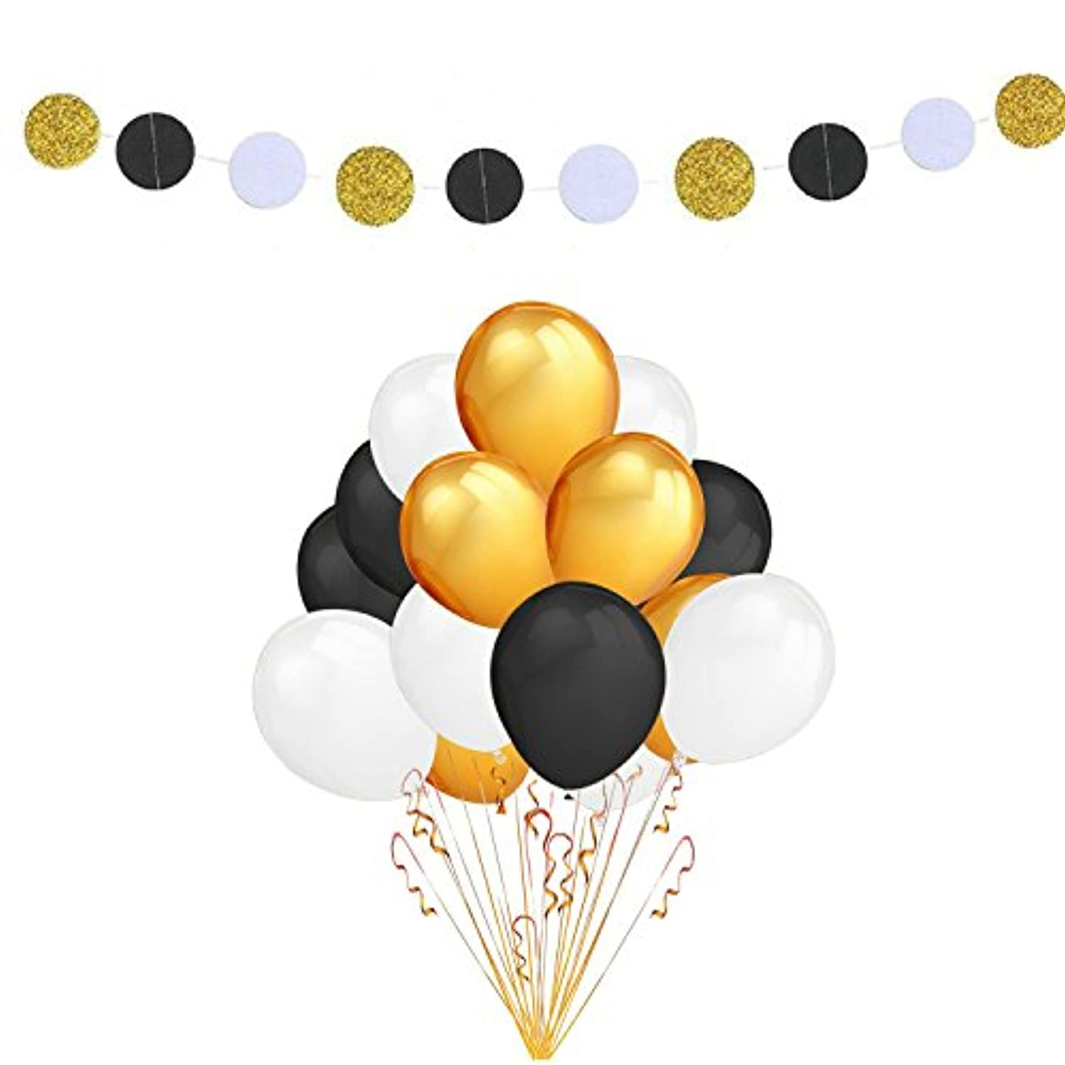 Fascola 100 Pack 30cm Ultra Thickness Gold & Black & White Colour Latex Party Balloons with White Black Gold Polka Dot Garland for Party Decorations