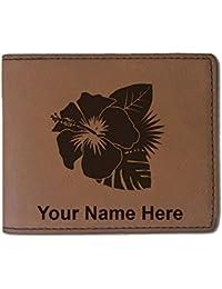 フェイクレザー財布 – ハイビスカスフラワー2 – カスタマイズ彫刻Included (ダークブラウン)