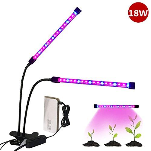 植物育成LEDライト,Qshiba USB/グリップ型 ガチョウの頚造形クリップ ライト LED水耕栽培ランプクリップライト フレキシブルアーム で長寿命で明るい照明 室内でも植物がすくすく育つ赤/青LED 省エネ (18W)