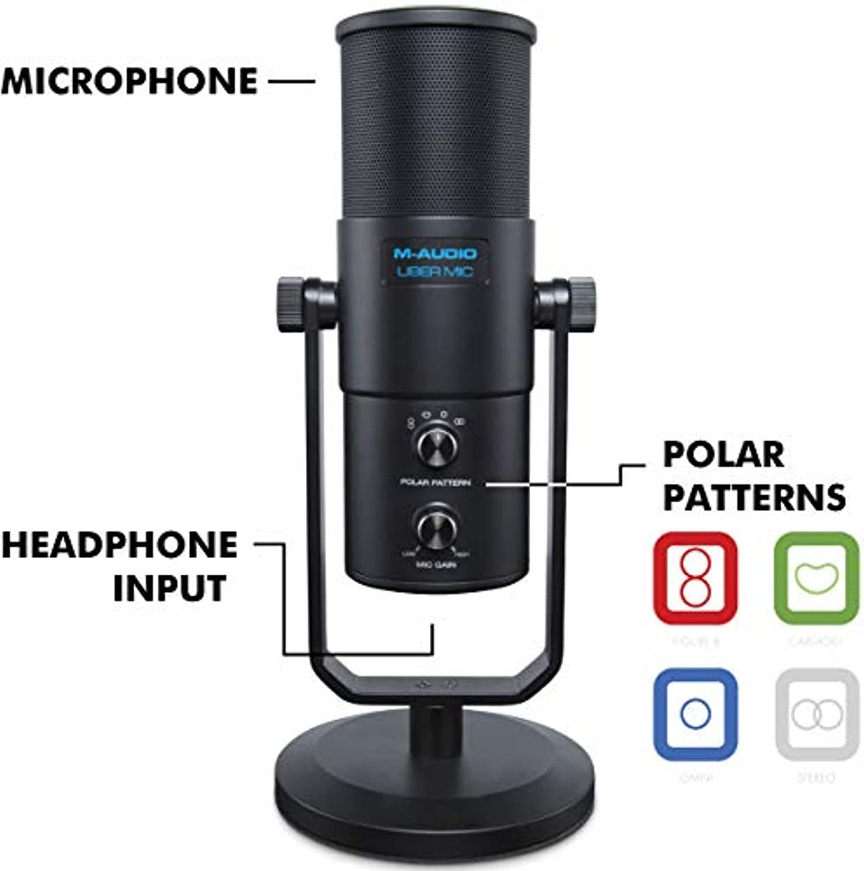 付き添い人緩む放送M-Audio プロ用 USB 高品質 コンデンサーマイク 4種類の指向性【カーディオイド、双指向性、無指向性、ステレオ】 ヘッドフォン出力搭載 UBER Mic