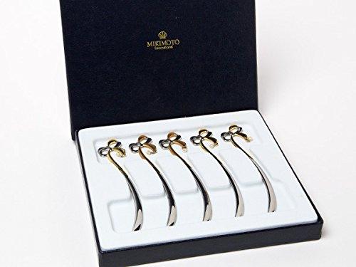 MIKIMOTO ミキモトインターナショナル 真珠の小粒付 リボン型マドラー ゴールド&シルバー5本セット