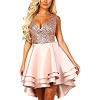 JONLYC 2019 A-Line Sleeveless V-Neck Sequined High Low Homecoming Dress