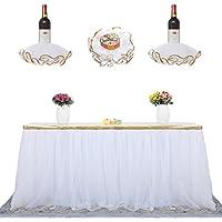 Zehuiチュチュテーブルスカートandレッドワインスカートパーティーウェディング誕生日パーティーホーム装飾ハイエンドゴールドつば3レイヤエレガントメッシュふわふわ