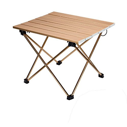 JUNRUI ロールテーブル アルミ ロールテーブル 折りたたみ式 テーブル 収納ケース付き 耐荷重40kg アウトドア お花見 ピクニック キャンプ 釣り ツーリングなど適用 (木目)