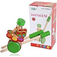 ベビーおもちゃ、子供の教育玩具、脳を発達させる 子供の木製教育玩具漫画トロリーベイビーシングルレバープッシュジョイベル (Edition : A)
