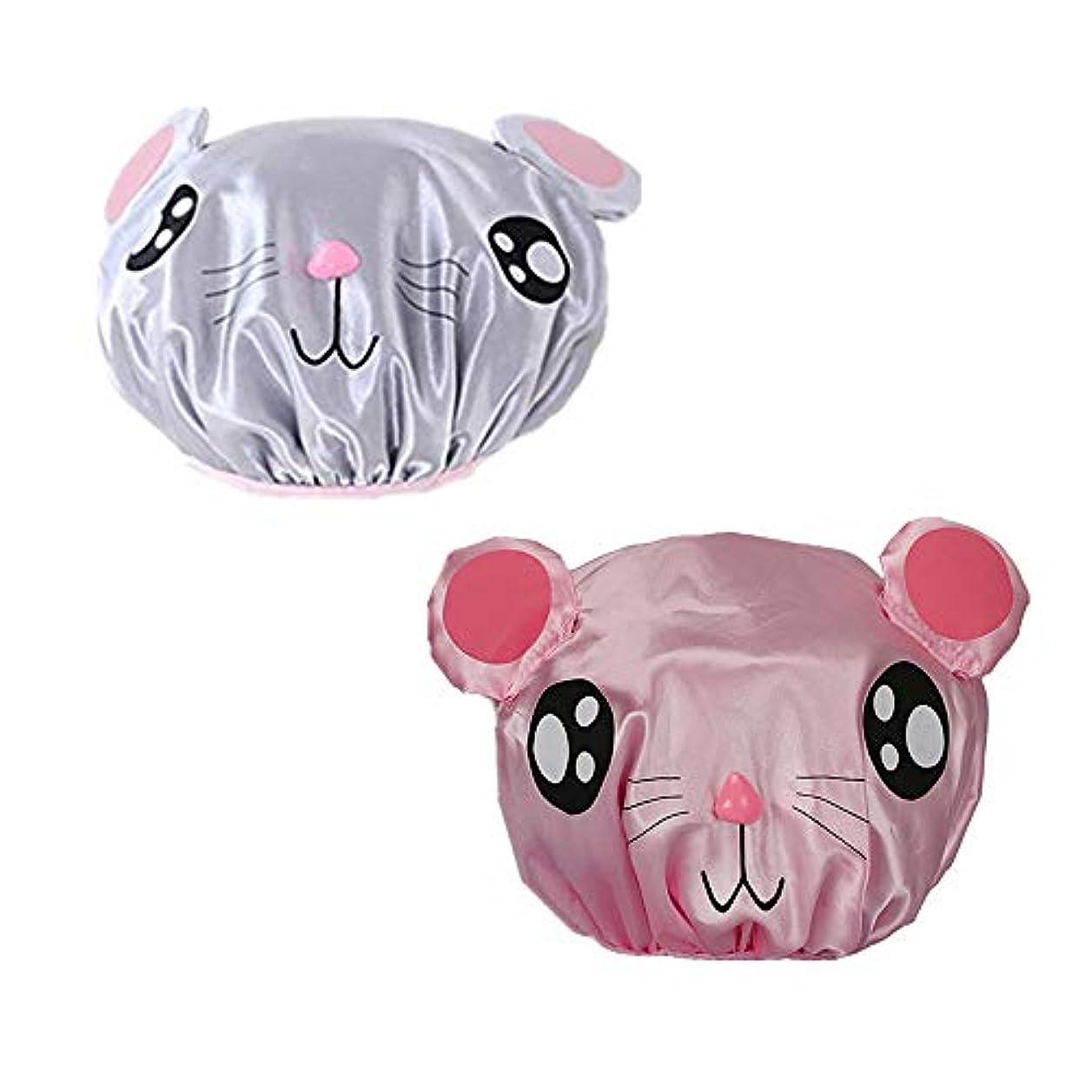ヒゲくるみシネマKingsie シャワーキャップ キッズ 子供用 2枚セット ヘアキャップ 可愛い 動物柄 カートゥーン 防水帽 入浴キャップ お風呂 ピンク/グレー