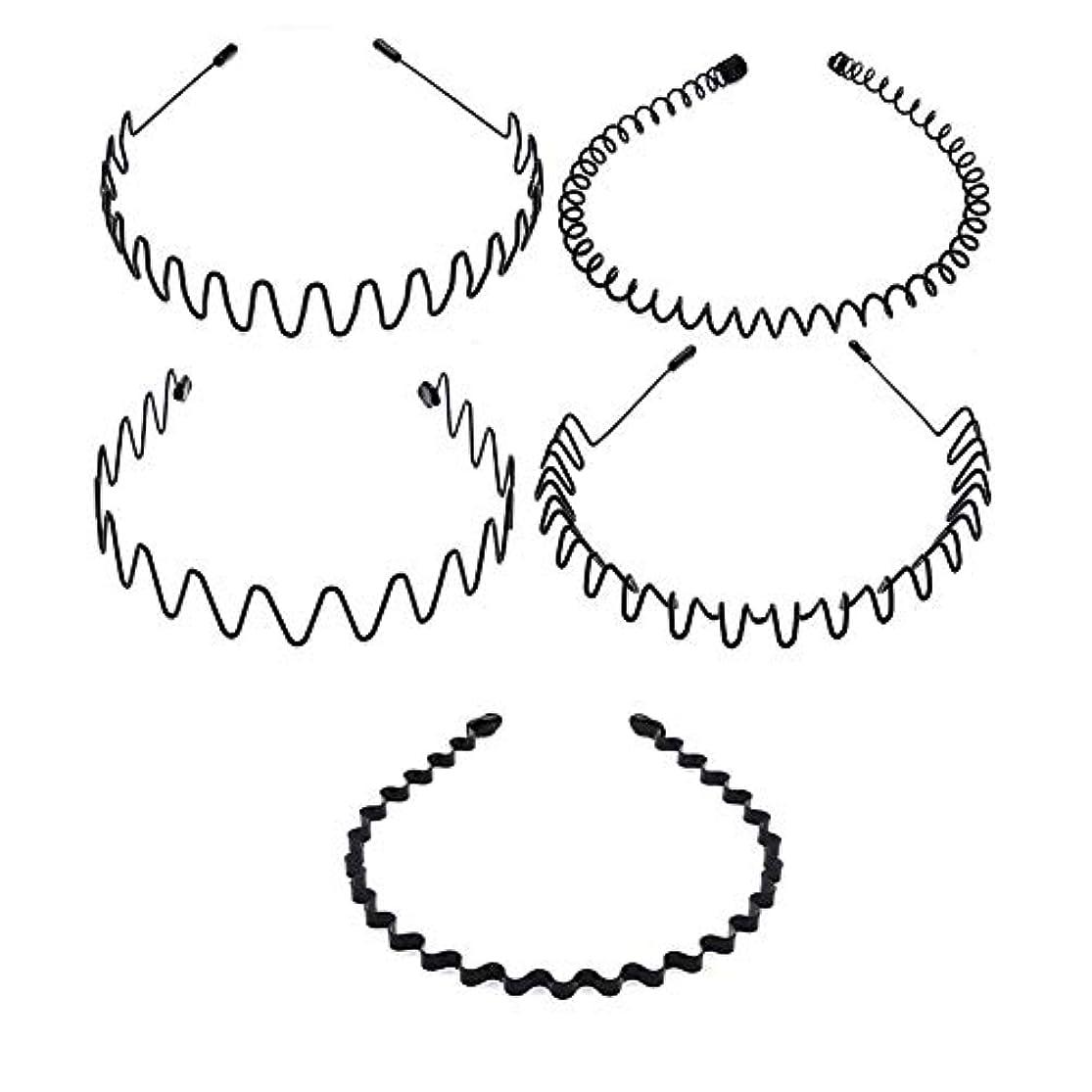 製造寝室ひねり5種類のシンプルな波状ヘッドバンド 非常にニュートラルなヘアクリップ 男性と女性の両方が使用可能 黒