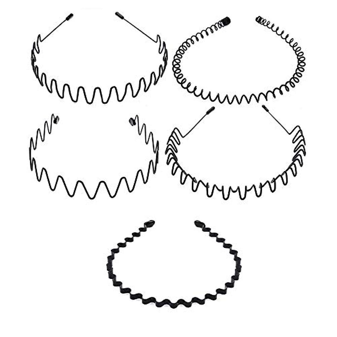 トーナメント内部プレミアム5種類のシンプルな波状ヘッドバンド 非常にニュートラルなヘアクリップ 男性と女性の両方が使用可能 黒