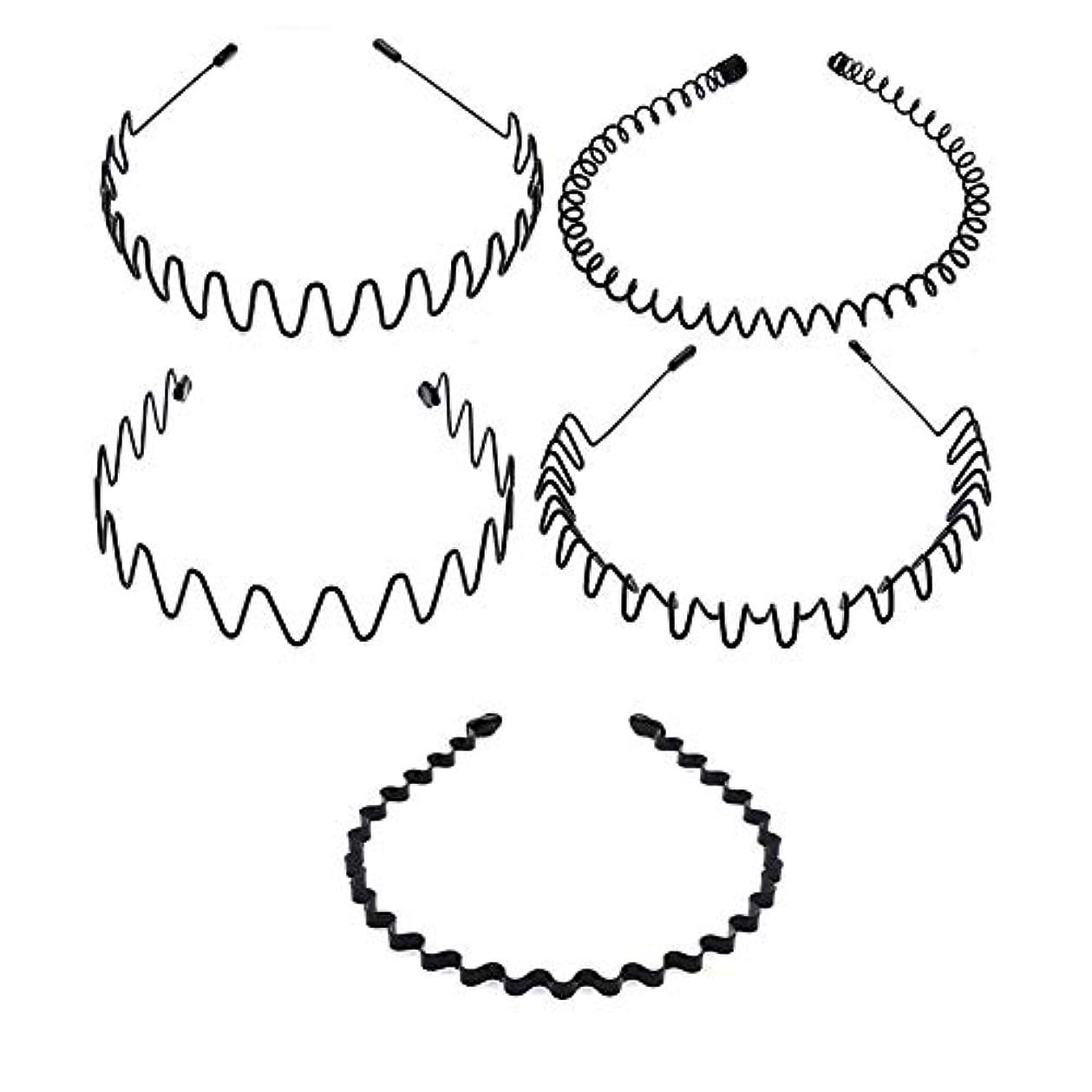 脅かす群がる裁判官5種類のシンプルな波状ヘッドバンド 非常にニュートラルなヘアクリップ 男性と女性の両方が使用可能 黒