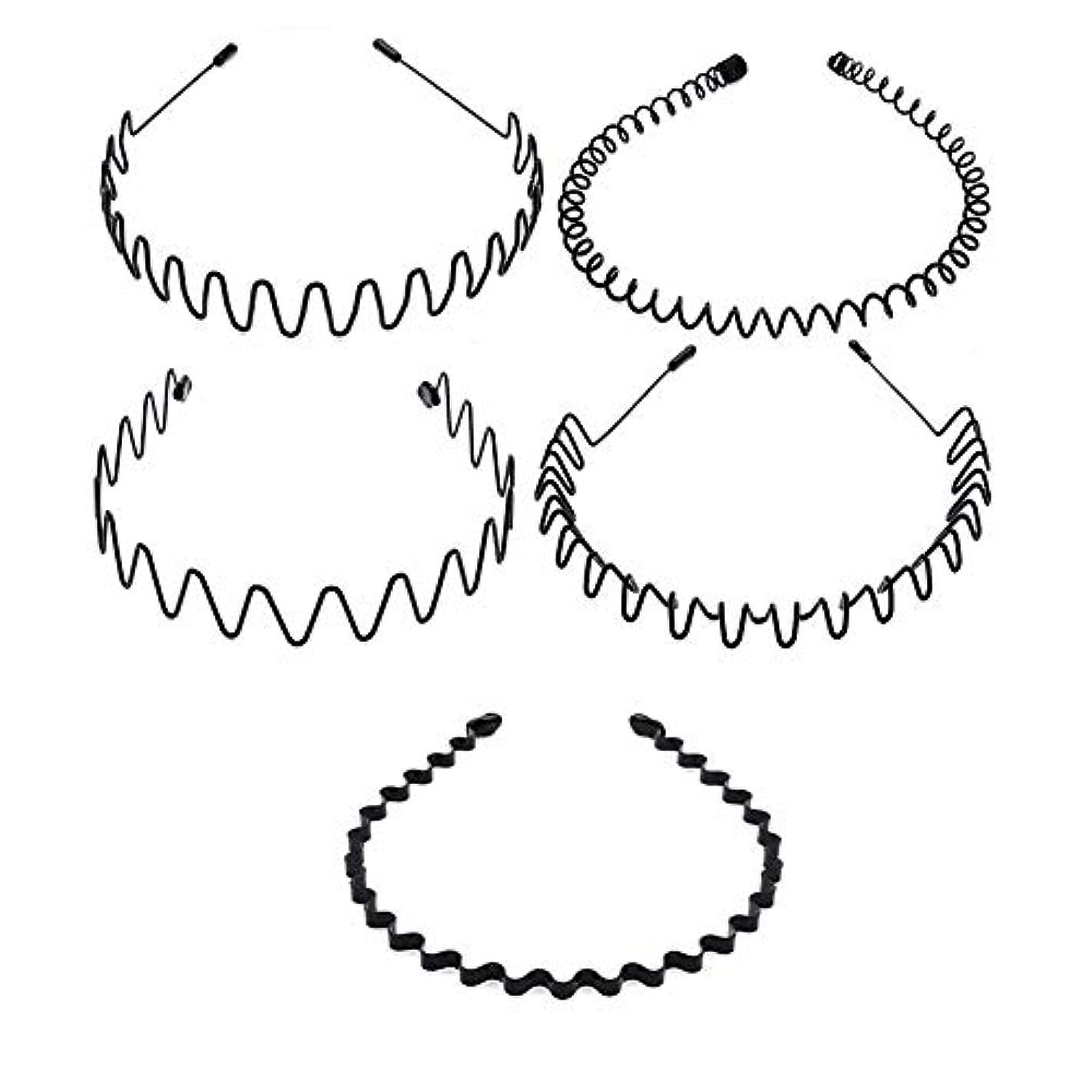 どこでも木製散らす5種類のシンプルな波状ヘッドバンド 非常にニュートラルなヘアクリップ 男性と女性の両方が使用可能 黒