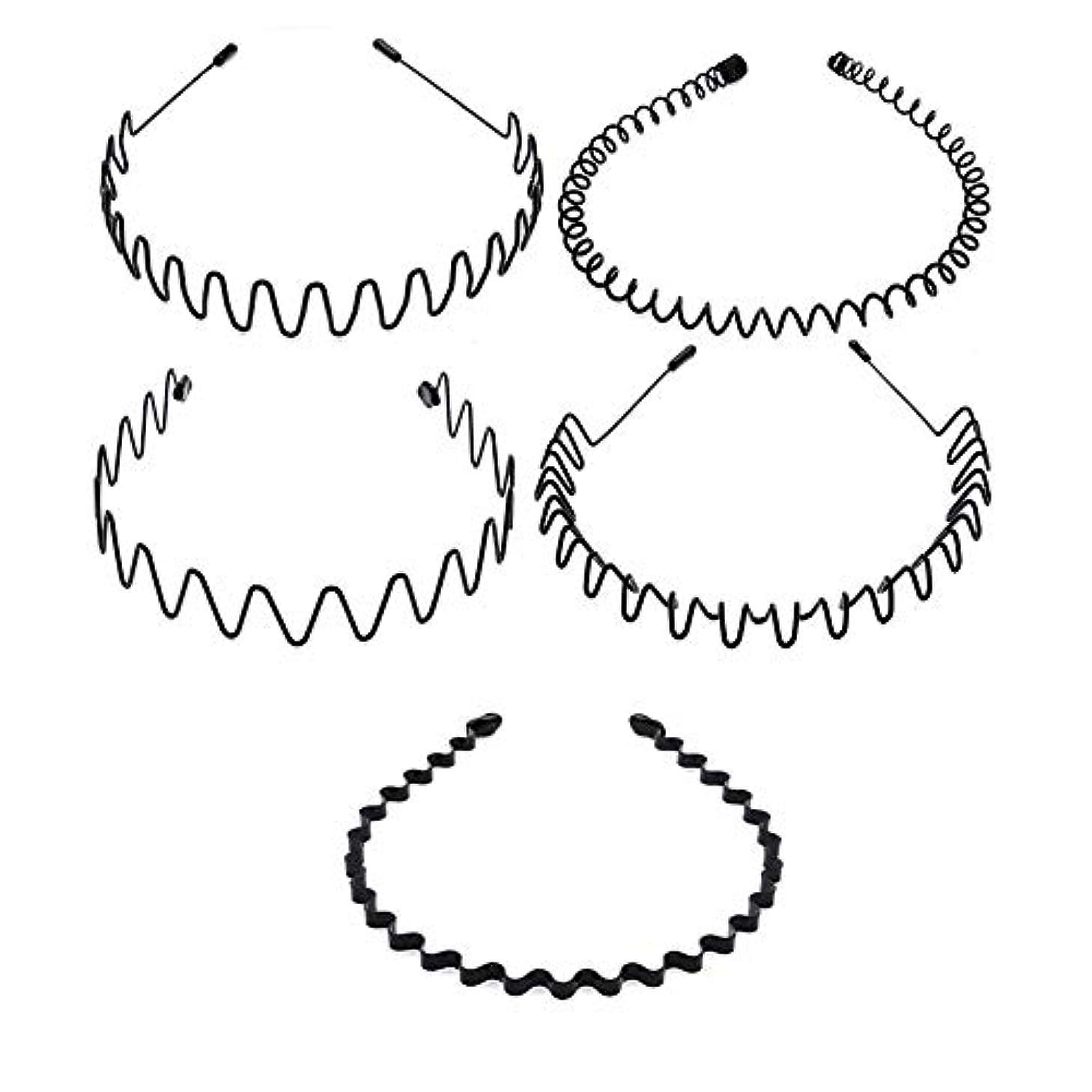 モッキンバード深い履歴書5種類のシンプルな波状ヘッドバンド 非常にニュートラルなヘアクリップ 男性と女性の両方が使用可能 黒