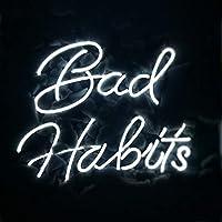 LiQi Bad Habits ネオンサイン (14インチ x 11.5インチ) 本物のガラスアクリルパネル 自宅 寝室 パブ ホテル ビーチ レクリエーションゲームルームの装飾