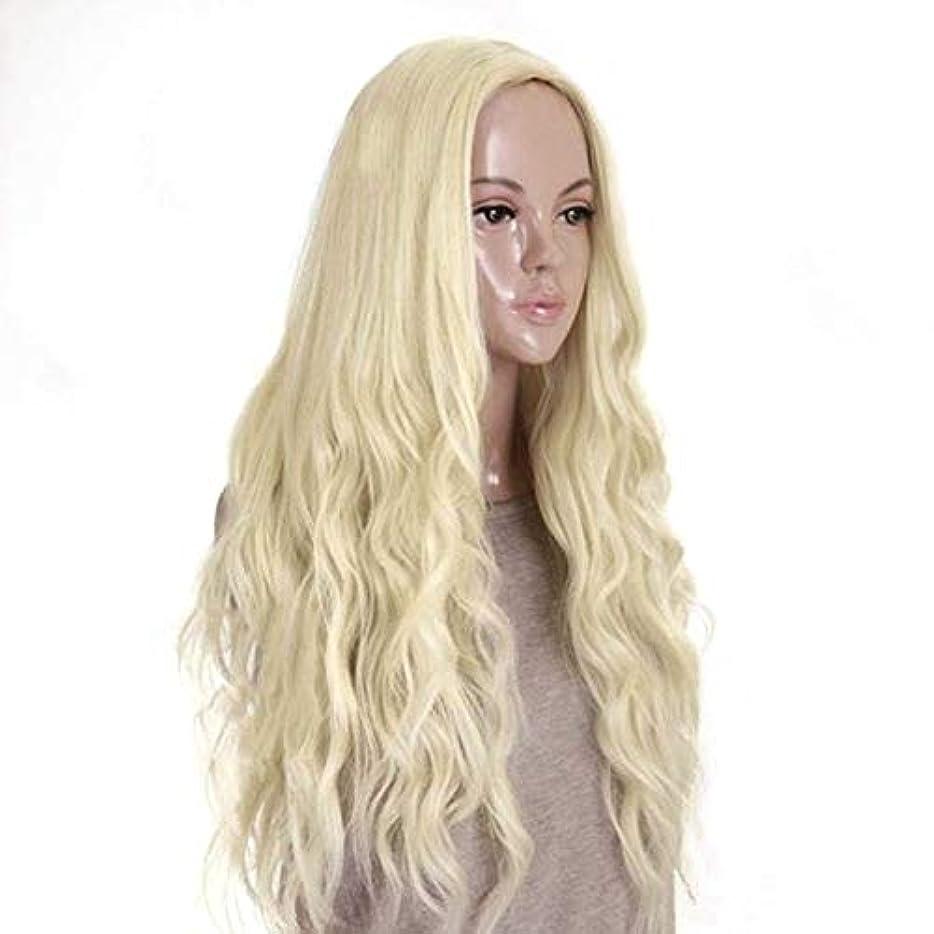 プレミアムしなやかベアリングサークルWASAIO ブロンドの髪かつら合成の長い巻き毛のふわふわのかつら70 cm (色 : Blonde)