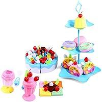 キッチンプレイセット YIFAN DIYケーキ玩具 お誕生日ケーキ?果物をカット おままごと 啓蒙教育 知育おもちゃ 料理玩具 86個セット size 20 * 20 * 35cm (メインブルー)