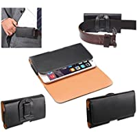 DFV mobile - Case belt clip synthetic leather horizontal smooth for => TRONSMART TS7 > Black