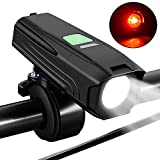 Tobbiheim 自転車ライト,LEDヘッドライト USB充電式 自転車前照灯 テールライト付き 防水 高輝度 5段階点灯モード 懐中電灯兼用 アウトドア・スポーツ 自転車・サイクリング 防災用