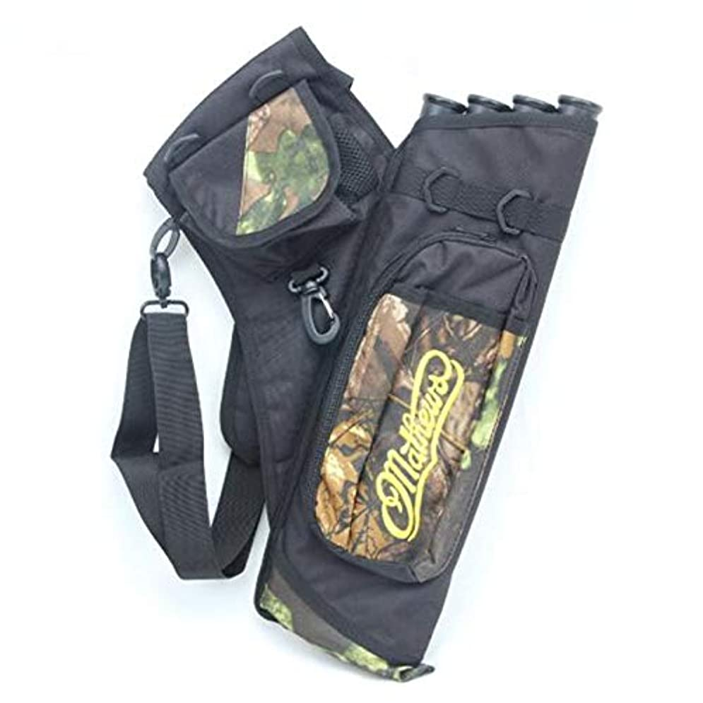 弾性疑問を超えて行DishyKooker アーチェリー用バッグ 4つのチューブ アローサブハンティングアローズ 調節可能なストラップ付きホルダーバッグ