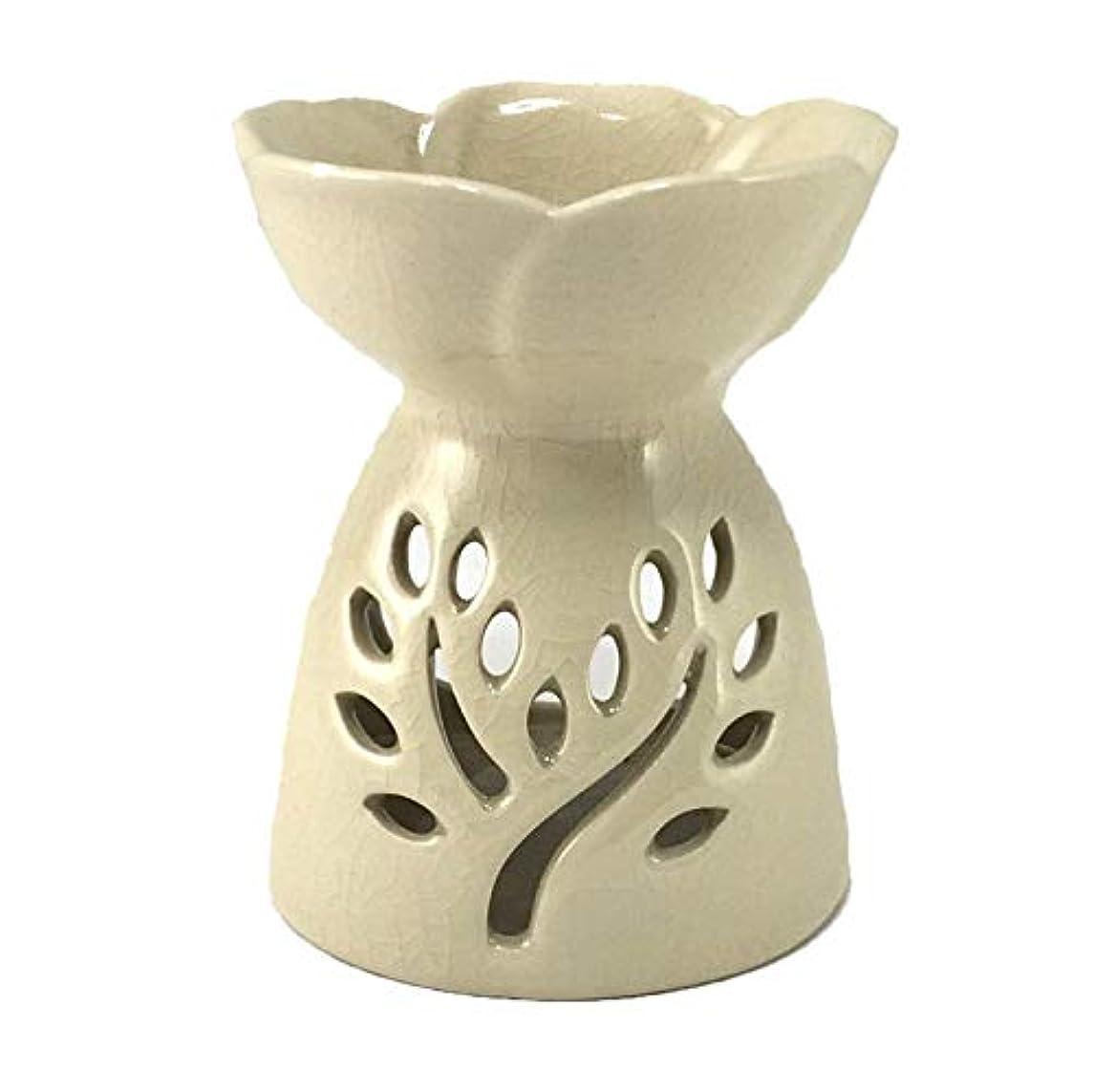 モック遺跡優雅アロマポット ツリー模様スリット 陶器アロマバーナー