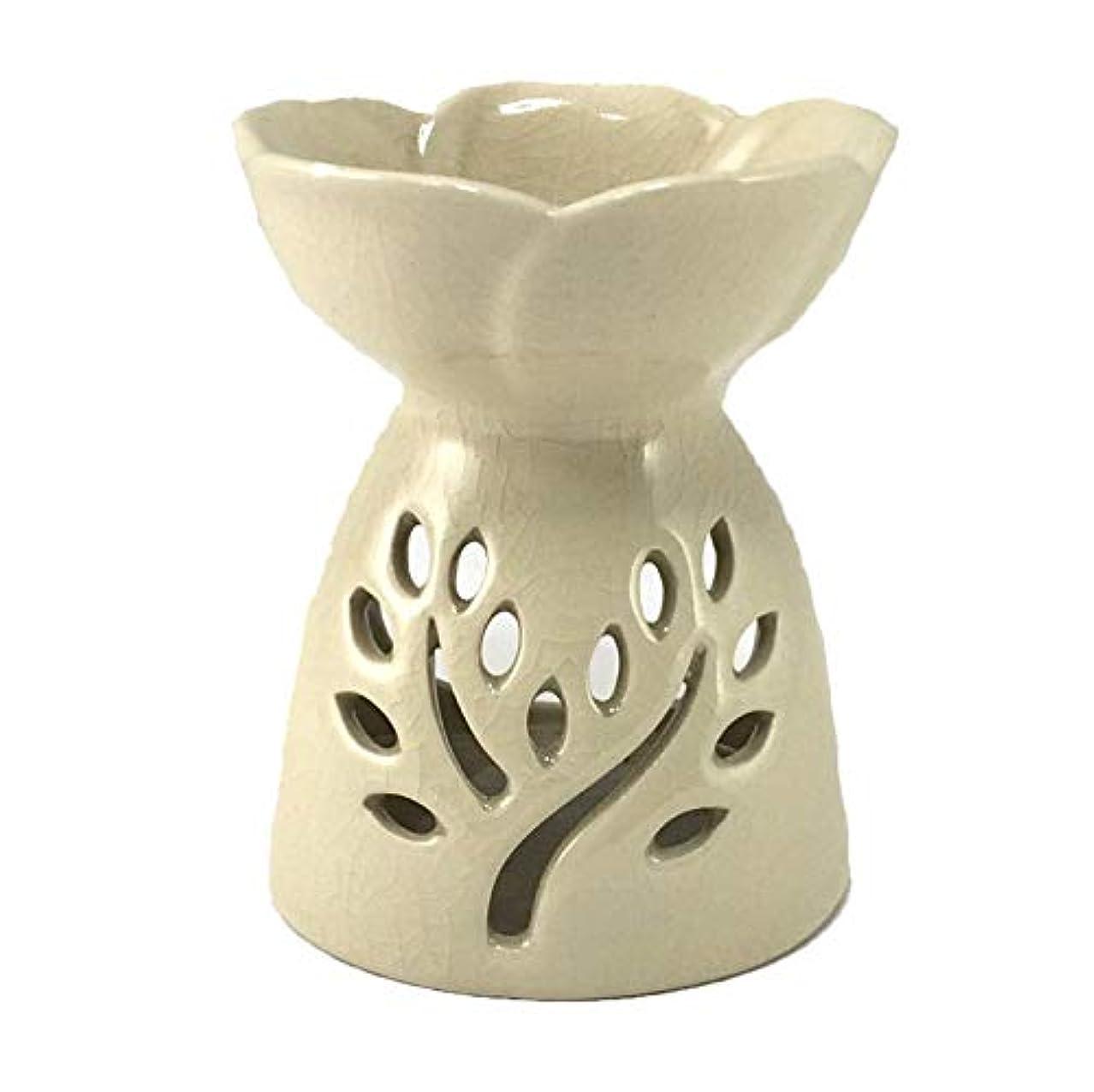 宣伝非難困惑するアロマポット白 ツリー型スリット 陶器