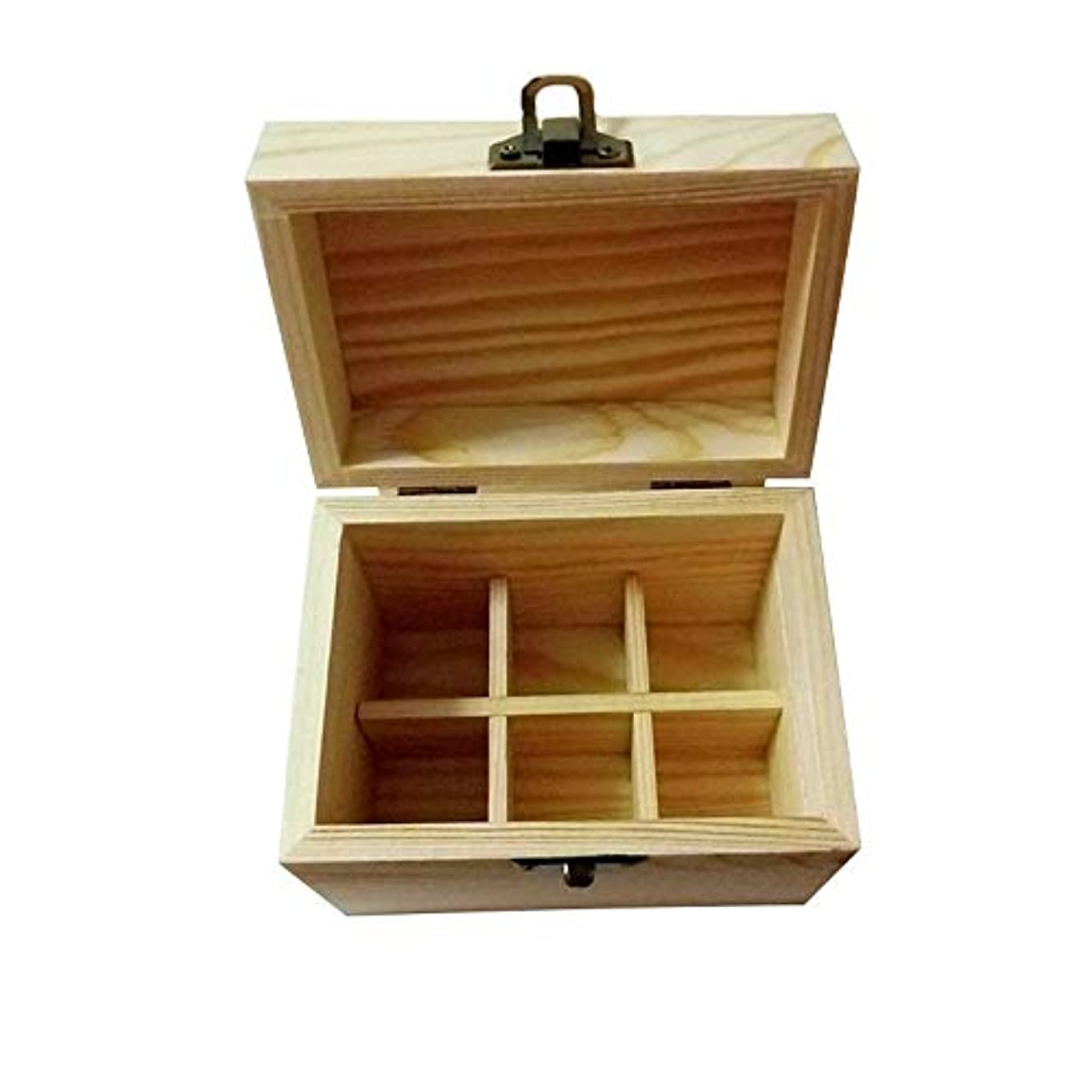 シビック養うピストルエッセンシャルオイル収納ボックス エッセンシャルオイルストレージボックスケース木製??の主催者は表示11.5x8x9.5cmを運び、ホームストレージセーフ6本のボトルを保持します (色 : Natural, サイズ :...