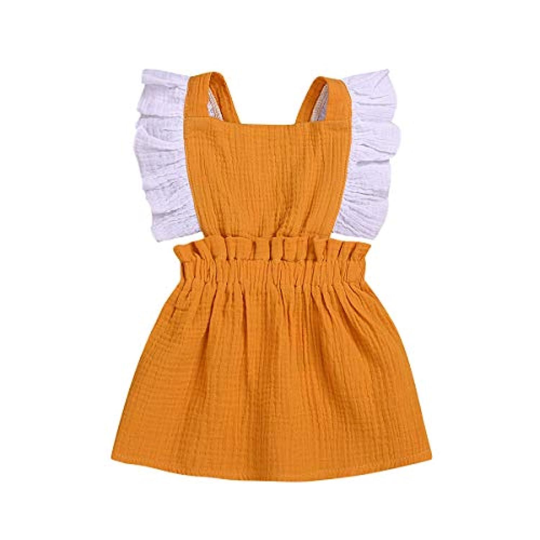 ベビー服 夏スタイルの姉妹は、幼児の赤ちゃんの女の子フリルプリンセスパーティードレスをロード 花柄 肩フリル ワンピース 出産祝い 可愛い イエロー フリル ロンパース カバーオール 女の子 赤ちゃん