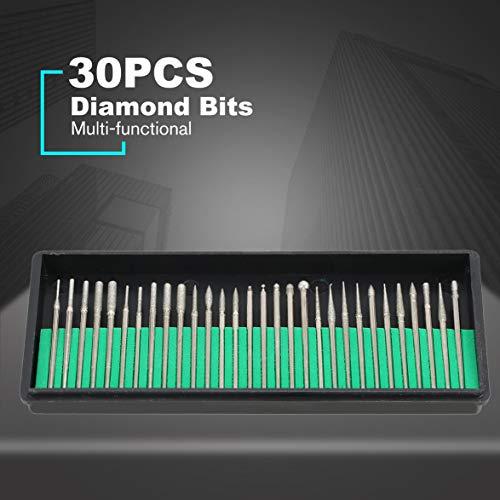 30PCS Diamond Burrs Grits Rotary Tool Drill Bit Manicure Pedicure Grinding Accessories Kit Wood Work Milling Nail Art Polish - Silver