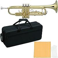 MAXTONE 管楽器セット トランペット B♭管 ゴールドラッカー仕上げ TT-104L セミハードケース付