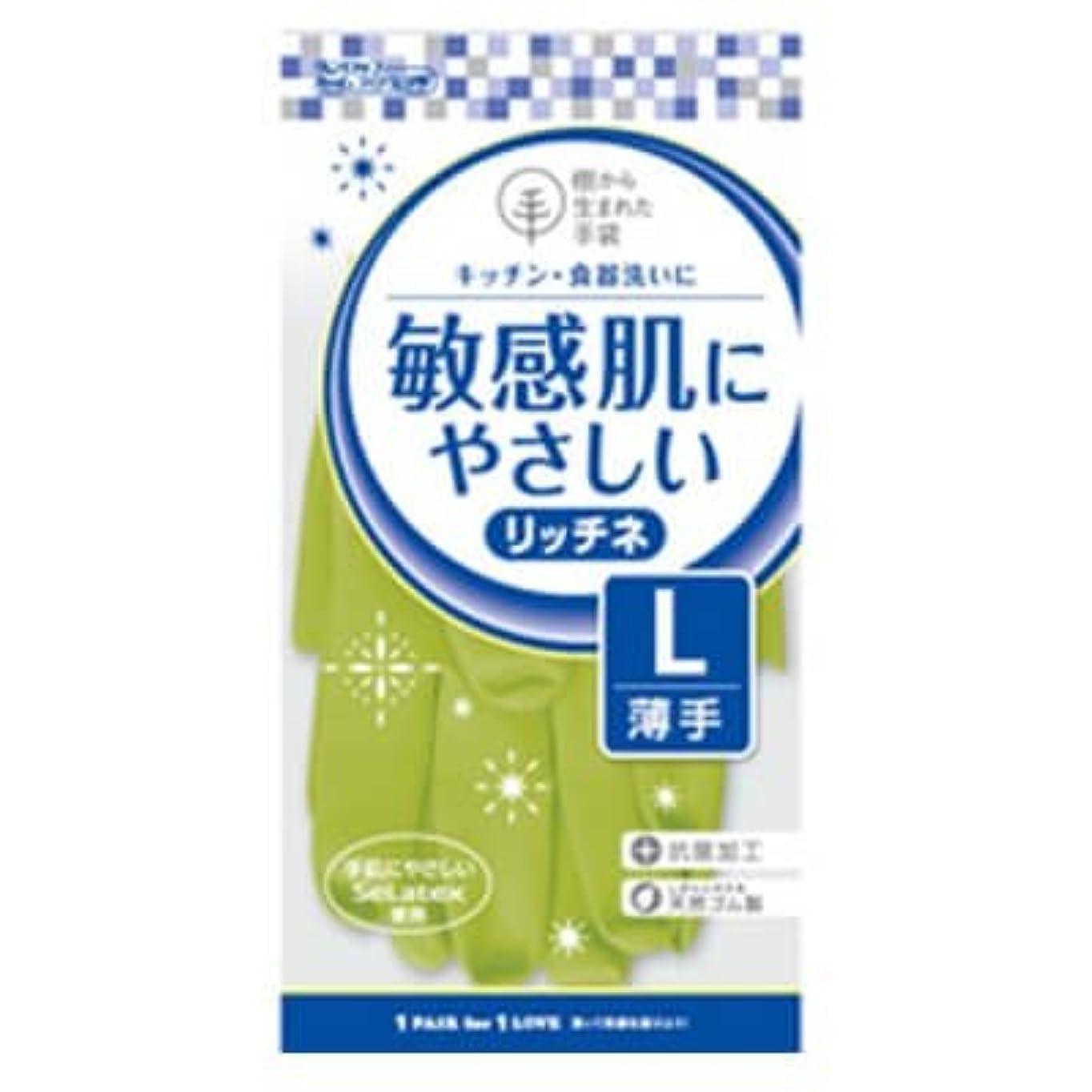 外科医アパートチップ【ケース販売】 ダンロップ 敏感肌にやさしい リッチネ 薄手 L グリーン (10双×24袋)