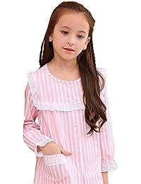 [conico(コニコ)] パジャマ キッズ 子供 女の子 長袖 綿 コットン 前開き ルームウェア シャツ ストライプ