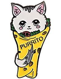 かわいい猫 Purrito ハードエナメルラペルピン