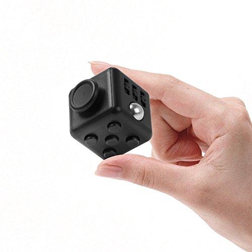 Hanaure Fidget Cube フィジェットキューブ 六面体 ストレス解消おもちゃ 集中力を高める道具 ギフトグッズ 手持ちポケットゲーム 男女老若用 仕事や勉強などの玩具 ブラック