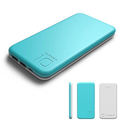 PURIDEA モバイルバッテリー 10000mAh モバイルバッテリー携帯充電器 急速充電 大容量 軽量 2台同時充電可能 手触り良い かわいい iPhone&Android対応 ブルー