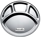 Buycrafty Stainless Steel Divided Plate: Set of 4 Mess Trays Great for Camping, Kids Lunch and Dinner or Every Day Use