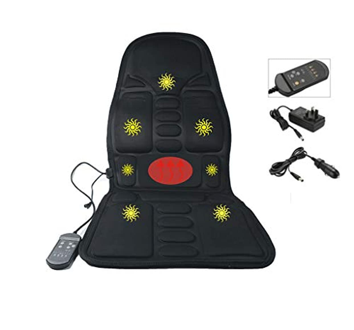 非アクティブマッサージマナー指圧マッサージシートクッション、3D指圧ディングニーディング、プレス、ローリングとバイブレーション - マッサージフルバック、アッパーバック、バックバック、座っているエリアまたはピンポイント正確なマッサージスポット加熱(黒)