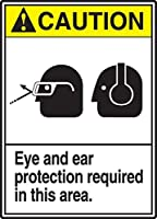 Accuform MRPE604VS Sign Legend CAUTION EYE AND EAR PROTECTION REQUIRED IN THIS AREA 14 Length x 10 Width x 0.004 Thickness Adhesive Vinyl 14 x 10 Yellow/Black on White [並行輸入品]