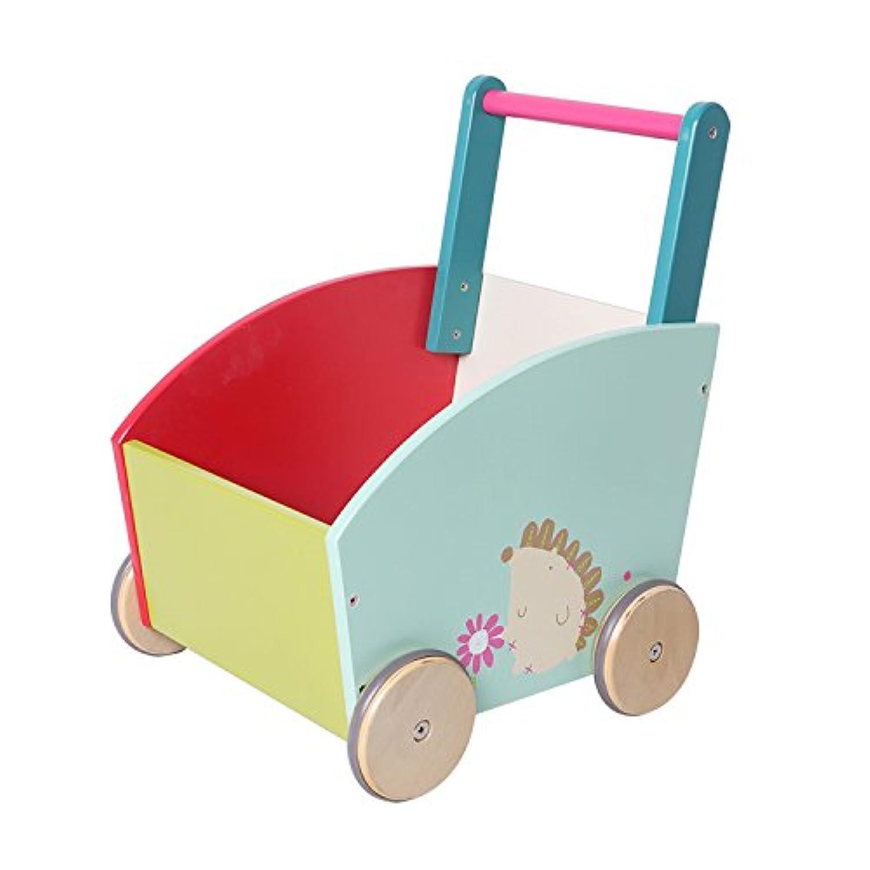 Labebe 子供ウォーカー プッシュ&プル手押し車おもちゃ ワゴントイ カタカタ 歩行器 - グリーンヘッジホッグ
