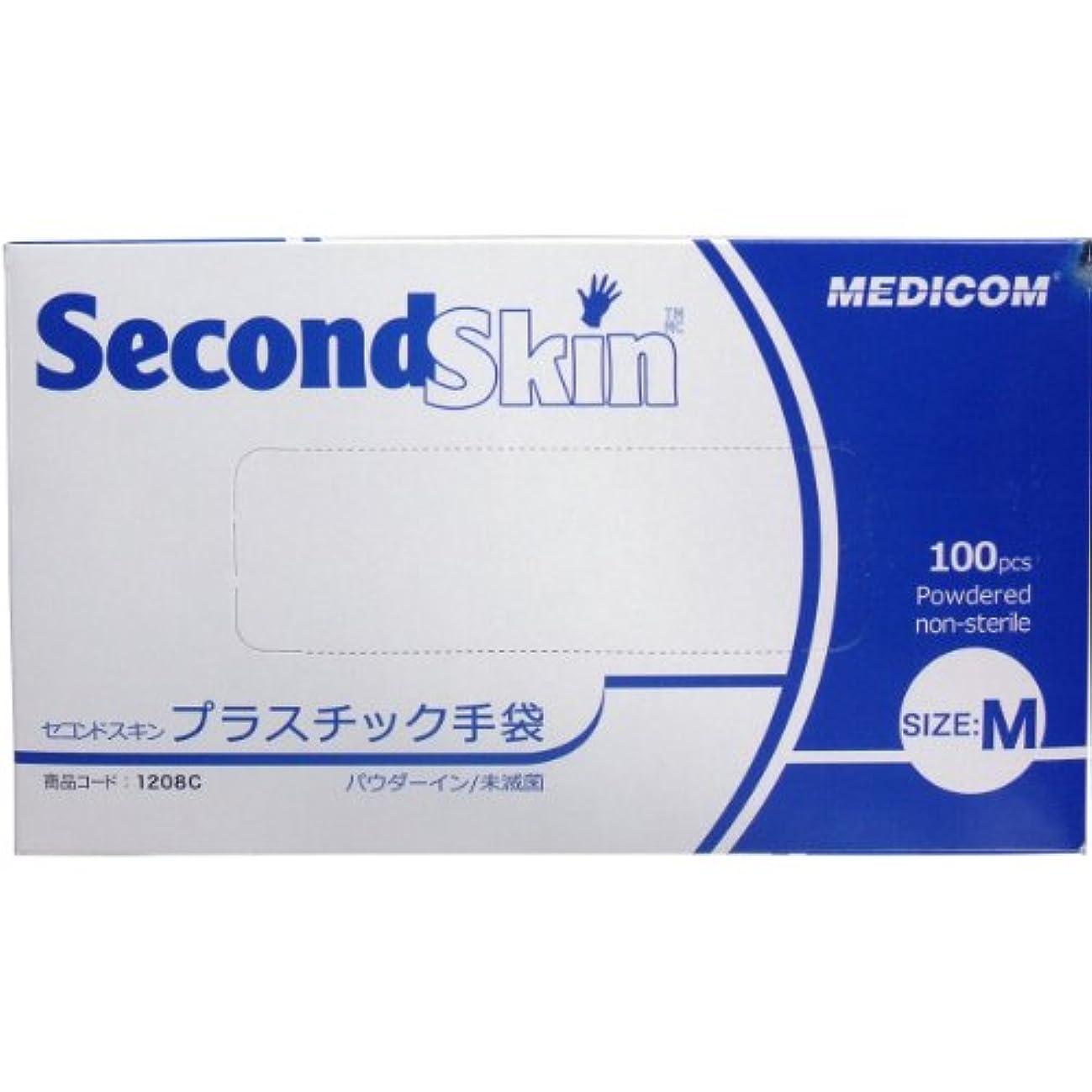 被る記者雰囲気セコンドスキン プラスチック手袋 Mサイズ 100枚入