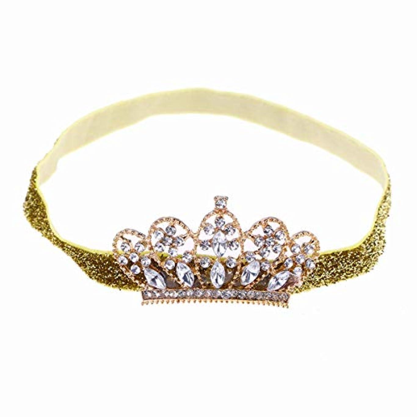 レンダーリファインうなり声Beaupretty Baby Girls Rhinestone Crown Headband Elastic Tiara Hairband Headdress