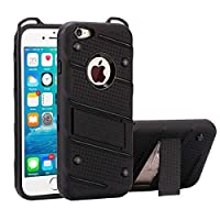 IPhone 6プラス&6Sプラスホルダーとチャームの騎士取り外し可能なPC + TPUコンビネーション保護ケースのために電話ケース(ブラック) styx2020 (色 : Black)